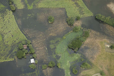 thailand flood: View of aerial land and lake of Thailand  Stock Photo
