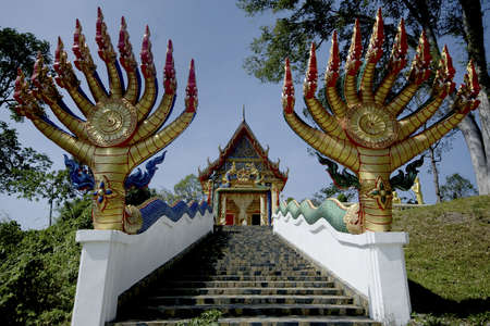 Serpents at stairs to Thai church photo