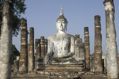 stu: Ancient Buddha in Wat Mahathat temple at Sukhothai historical park in Northern of Thailand