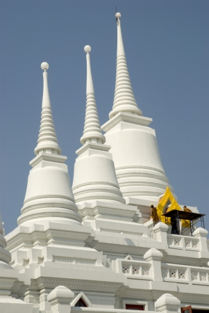 White stupa in Thai temple ,Middle of Thailand  Stock Photo - 16253145