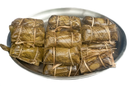 Thai dessart sticky rice with banana in Thailand  photo