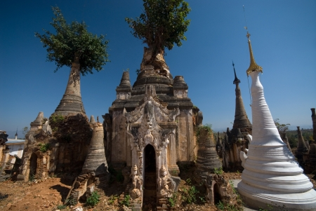 Ancient Pagodas of Inn Taing temple near Inle lake at Shan state in Myanmar   photo