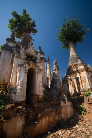 Ancient Pagodas of Inn Taing temple near Inle lake at Shan state in Myanmar Stock Photo - 16393380