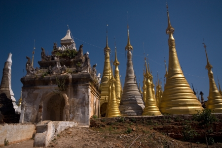 Group of golden pagodas of Shwe Inn Taing Paya near Inle lake, Myanmar   photo