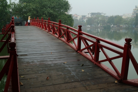 Relax at red bridge in Hanoi city,Vietnam