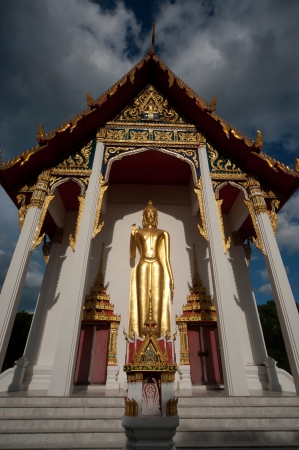 Stand big Buddha front of Thai church in Middle of Thailand  photo