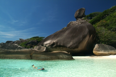 Tourist swimming in the sea at Similan island,Similan  Marine National park in Southern of Thailand