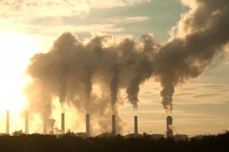 Hot steam from big chimney   Reklamní fotografie