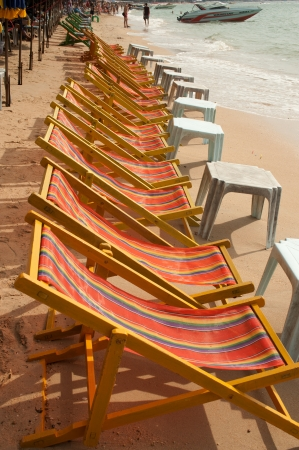 Deck chairs on Pattaya beach