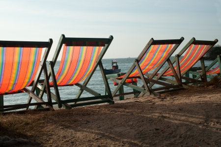 Deck chairs on Pattaya beach   photo
