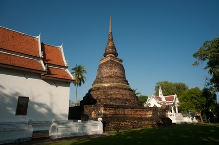 Ancient Pagoda in the temple ruins of Sukhothai historical park,Northern of Thailand Stock Photo - 16530164