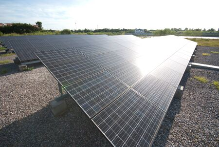 Solar panels in a row on Thailand electric plant   photo