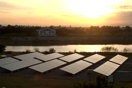 heat radiation: Solar panels-Large photovoltaic system at dawn