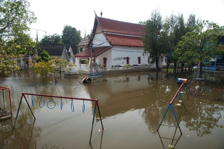 Mega flood in 50 years at ancient temple in Ayuttaya historical park,Middle of Thailand Stock Photo - 16704057