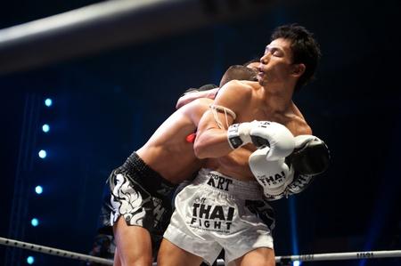 unrivaled: BANGKOK, THAILAND-SEPT 25  Unidentified fighters fight Muaythai at Thai Fight Muay Thai    The World s Unrivaled Fight at Thammasat University stadium on September 25, 2011 in Bangkok,Thailand