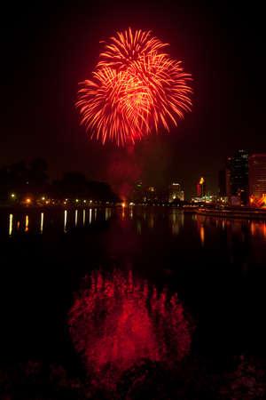 Night view and firework in Bangkok,Thailand  photo