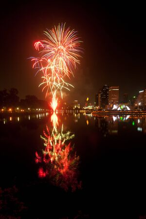 Night view and firework in Bangkok,Thailand