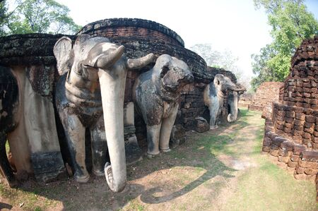 Elephant statue at pagoda in ancient temple ,Khamphangpet historical park in Northern of Thailand