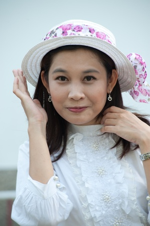 Pretty Thai woman in Retro styled   photo