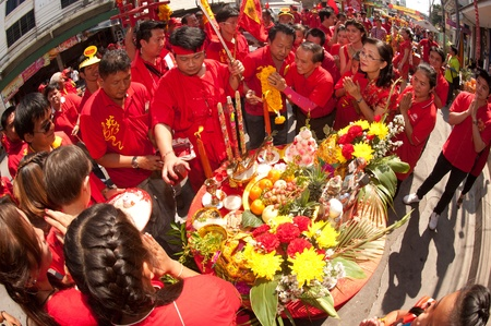 The Oracle give luck for peoples in parade show on Chinese New Year 2013 in Nakhonsawan Province,Middle of Thailand