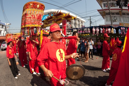 Gong playing show in parade on Chinese New Year 2013 in Nakhonsawan Province,Middle of Thailand