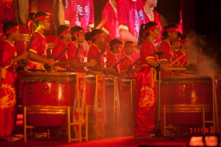 Drum playing show on Chinese New Year 2013 in Supunburi Province,Middle of Thailand