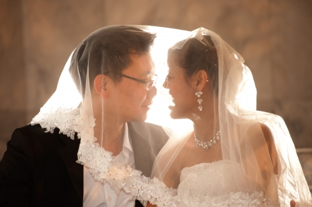 Happy Asian bride and groom on their wedding day   Reklamní fotografie