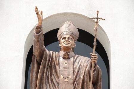 beatification: John paul II statue in Christian church  Editorial