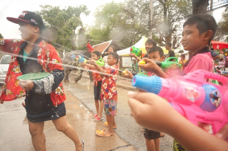 Peoples splashing water in Songkran festival