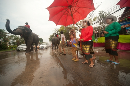 songkran: Elephant dancing in Songkran festival  Editorial