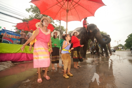 Elephant dancing in Songkran festival