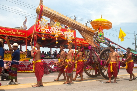 Ancient rocket in cart is decorated head of the serpent in Rocket Festival  Boon Bung Fai  in Northeast of Thailand