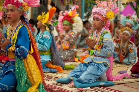 Boy is Novice monk in Poy Sang Long Festival in Northern of  Thailand  Redakční