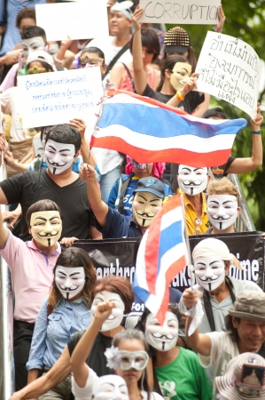 Bangkok,Thailand-June 2,2013   About 700 demonstrators from the anti-government V for Thailand group wear Guy Fawkes masks to protest against the government at the Central World shopping complex on June 2,2013 in Bangkok,Thailand