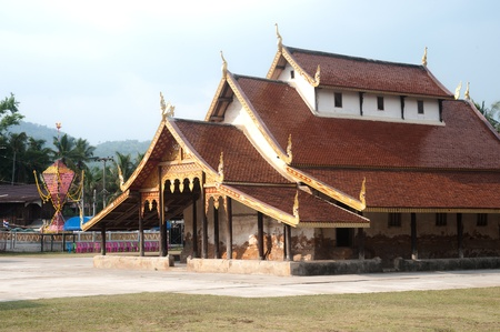 about age: Ancient  church made of teak wood age of about 400 years at Wat Sri Pho Chai temple in Nahae District,Loei Province,Northeast of Thailand