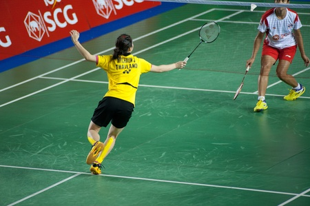 BANGKOK,THAILAND � AUGUST 31   Nitchaon Jindaphon badminton player in action during SCG All Thailand Badminton Championships at Nimibutr National Indoor Stadium on August 31,2013 in Bangkok,Thailand