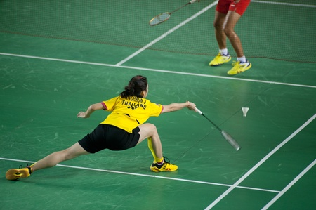 unsatisfactory: BANGKOK,THAILAND � AUGUST 31   Nitchaon Jindaphon badminton player in action during SCG All Thailand Badminton Championships at Nimibutr National Indoor Stadium on August 31,2013 in Bangkok,Thailand  Editorial