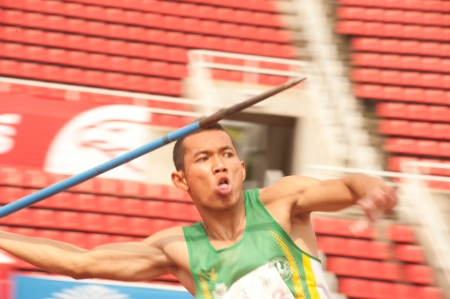 javelin throw: Javelin Throw player action in Thailand Open Track and Field Championships 2013