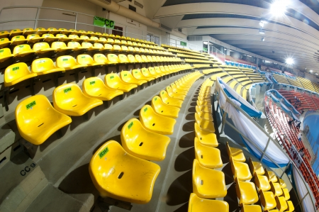Yellow seats in stadium