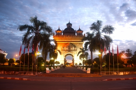 sunup: Patuxay at sun-up in Vientiane , Loas