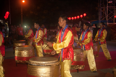 chinese drum: Chinese drum dancing show in Chinese New Year