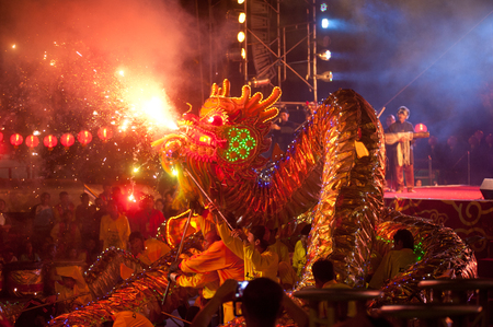 Chinese dragon dancing light and sound show in Chinese New Year