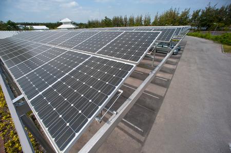 Solar cell on roof at car park   Reklamní fotografie