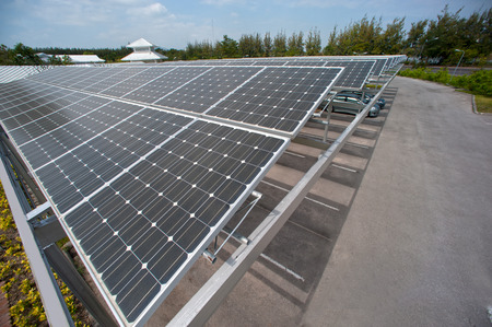 Solar cell on roof at car park   Stock Photo