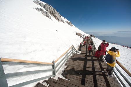 Wooden stair on Jade dragon snow mountain,Lijiang,Yunan,Southwestern China