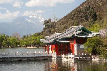 unesco world cultural heritage: Black Dragon Pool in Lijiang,Yunnan in Southwestern of China  Stock Photo