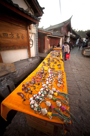national fruit of china:  Souvenir shop on footpath Historical in Lijiang Dayan Old town