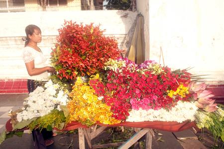 flower seller: Myanmar flower seller  Editorial