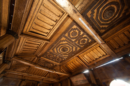 Myanmar wood art on ceiling at wooden Church a Nyan Shwe Kgua temple in Nyaungshwe,Myanmar. This temple is famous school of Buddhist Monk in Myanmar.