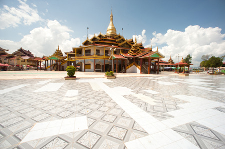 the place is important: Hpaung Daw U Pagoda is important Temple in Inlke lake,Shan State in Myanmar. Stock Photo